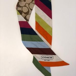 Coach Skinny Multicolor Purse Scarf